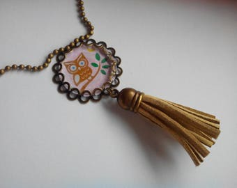 Long necklace - pendant and tassel - OWL on a branch