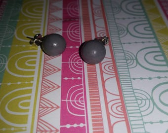 Gray dark polymer clay earrings