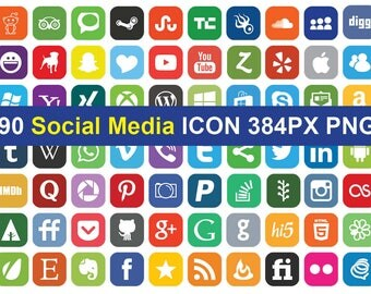 90 Social Media Icons  Clipart - printable PNG Digital Clipart Graphic Instant Download
