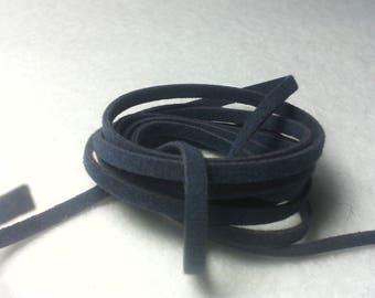 ☆ 1 meter cord flat wool / suedine appearance / Navy / 2 x 1 mm☆