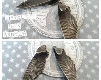 """Lot 2 connecteurs/pendentif """" ailes de papillons"""" aiton couleur bronze"""