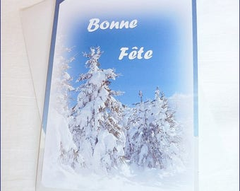 """Greeting card happy birthday made handmade from """"Snow party"""" Photo 10, 5x15cm"""