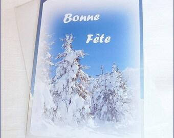 """Carte double Bonne Fête faite main à partir de photos """"Fête de la neige """" 10,5x15cm"""