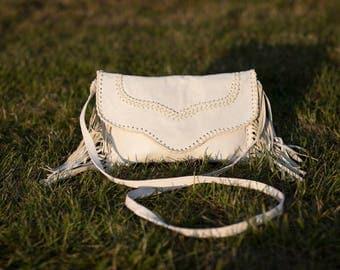 Handmade white leather fringe bag