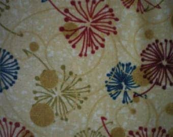 patchwork blue, red, green background fabric beige refastral