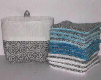 12 wipes washable eco-friendly baby cleansing cottons in blue lined gray Japanese organic bamboo minkee and Microfiber Terry fabric