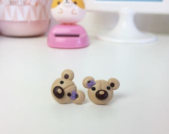 Stud Earrings little bears with a purple bow, made of polymer clay.