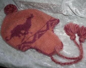 Wool Hat style Peruvian motif greyhounds