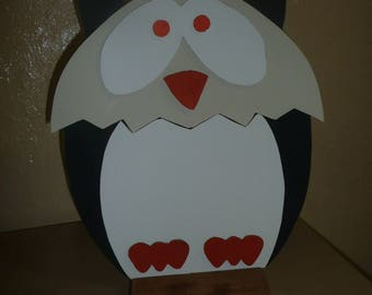 Mr OWL cardboard covered with imitation and suedine
