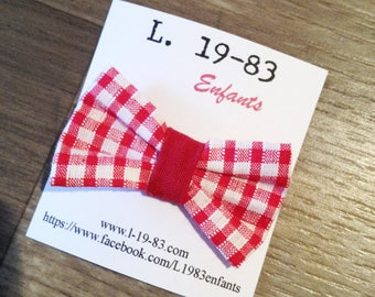 Bow shaped hair clip, red gingham fabric