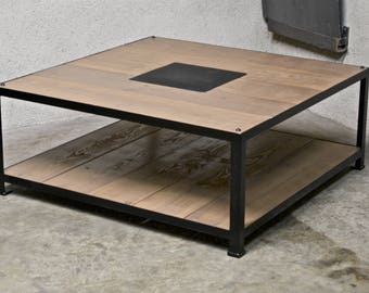 Low steel & wood table: 1 m x 1 m