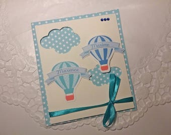 Invitation customizable hot air balloon in the colors of your choice and with your text