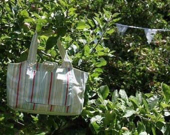 Stripe large tote bag