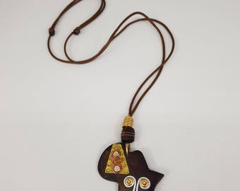 African Hand-Made Pendant. African Jewelry. African Pendant. African Neck piece. Bone and Brass Neck Art. Made in Africa. Rustic African Art