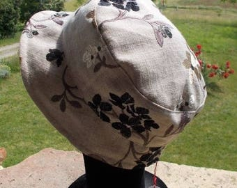 Flowers embroidered linen summer Hat