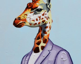 Girrafe Animal Portrait - Handmade Oil Painting on Canvas - Wall Art