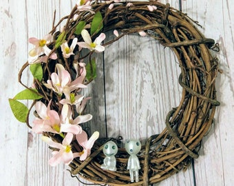 Cherry Blossom Wreath with Tree Spirits - Spring flowers - Anime Decor - Ghibli Inspired