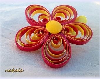 * PROMOTION * unique hair barrette clip varnished paper flower child