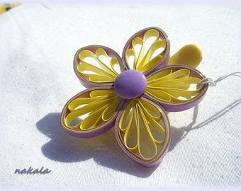 accessory promo hairstyling Bohemian varnished and hardened paper flower barrette hair clip