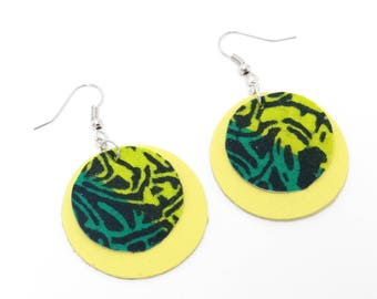 Green and lime green leather earrings