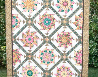 Rose Garden Whirl - Hand Quilted  Quilt