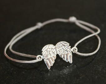 Bracelet gray TAUPE 925 sterling silver Angel Wings