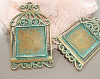 2 support cabochon bronze bird cage gold and antique patina 48 x 29 tray 20 x 20