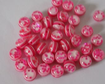Lot of 37 beads pink Sparkly glitter highlights