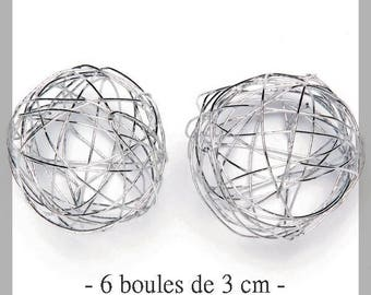 Set of 6 cute balls of silver wire 3 cm - new