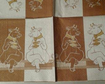 """Pretty NAPKIN pattern """"Delicious cows"""""""