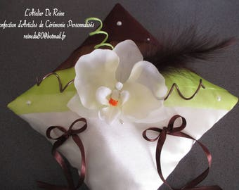Chocolate and lime green organza and ivory satin ring pillow