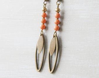 "Earrings long and thin coral Pearl ""Kinoa"""