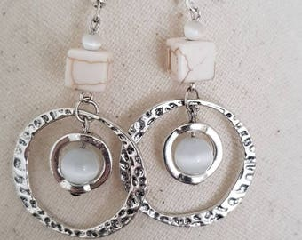 White howlite, glass bead and metal frame and hook earrings
