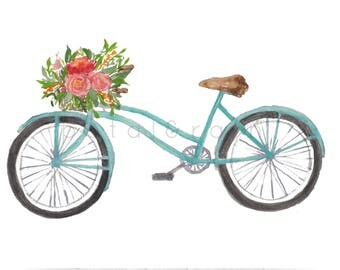 Her Blue Bicycle (Watercolor Print)