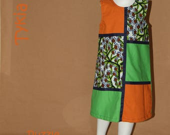 Puzzle green and orange - dress girl 3 years in African fabric