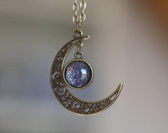 """Gealai"" Celtic Night Blue Moon glow necklace"
