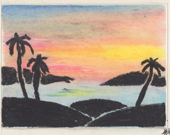Sunrise with tropical islands and palm trees