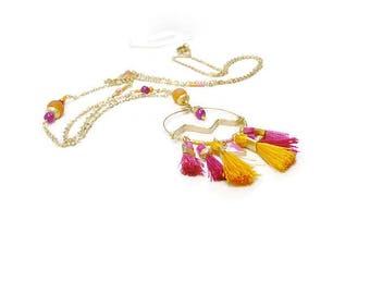 Necklace pink magenta fuchsia and orange Pop