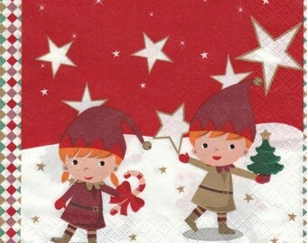 243 two small Elves design 4 X 1 lunch size paper towel