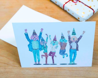 Funny Partying Puppy Dogs Illustrated Happy Birthday Card