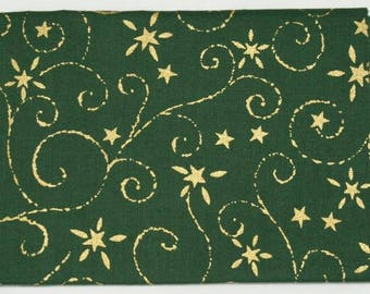 Christmas fabric coupon - green with Golden patterns