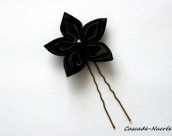 Black jewel flower silver Pearl bridal satin wedding hair