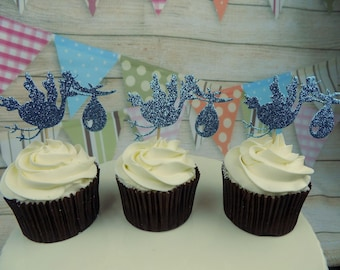 Christening themed Cupcake Birthday, Celebration Toppers