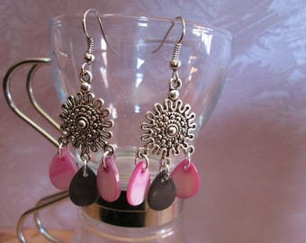 earrings with purple and black drop Pearl sequins water