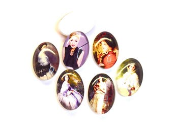 Mix of 5 illustrated, glass Cabochons - characters of yesteryear - (20x30mm) - color Vintage oval - CABVILL15COL049