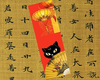 Set of two bookmarks with cat: my cat in China