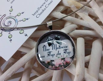 "Fashion necklace with cabochon ""A teacher at the top of the top"" 25mm white & Black striped background"