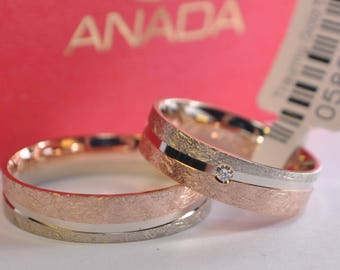 1 pair wedding rings gold 333 + diamond 0, 02ct - width 5mm - thickness 1, 3mm - ice Matt - red gold