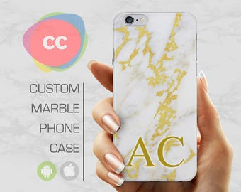 Personalized Marble Initials Phone Case / iPhone 6s Case / iPhone 6 Case / iPhone 6S, 5, 5S Case / Samsung Galaxy S8, S7, S6 Case - PC-212