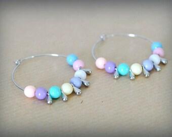 Hoop earrings silver Pastel Bubbles